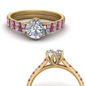 Pink Sapphire Flower Ring Set