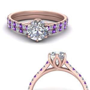 Six Prong Purple Topaz Ring Set