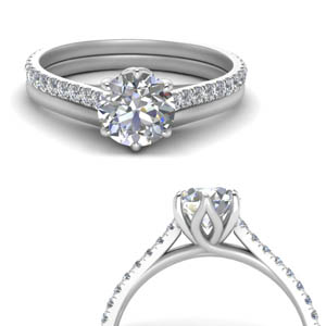 6 claw prong flower basket diamond ring with plain band in FD9109B2ROANGLE3 NL WG.jpg