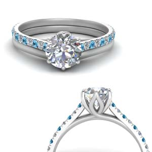 Platinum Blue Topaz Ring With Plain Band