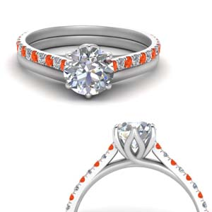 Cathedral Orange Topaz Wedding Set