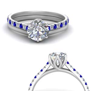 Sapphire Flower Basket Wedding Ring Set
