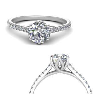 1 Carat Diamond Flower Basket Ring