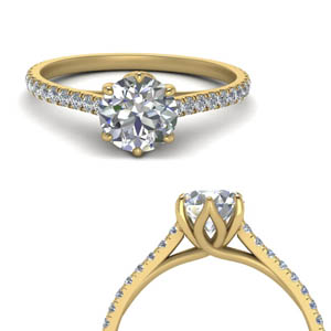 Moissanite Round Cut Side Stone Rings