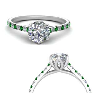 Emerald Flower Diamond Ring