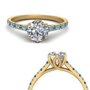 6 Prong Diamond Ring With Topaz