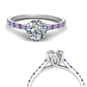 Round Cut Purple Topaz Ring