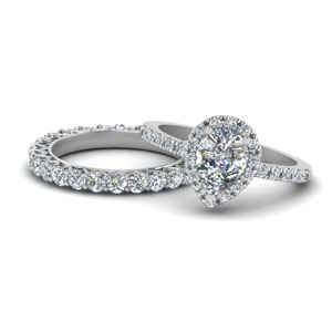 Pear Shaped Halo Moissanite Ring Sets