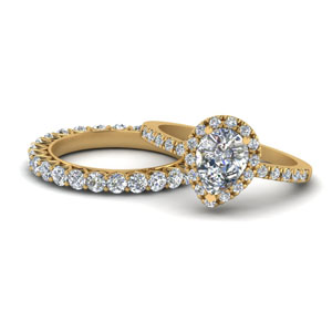Pear Shaped Halo Wedding Ring Set