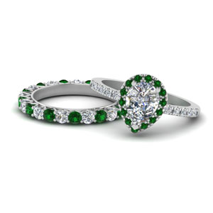 Emerald Halo Wedding Ring Set