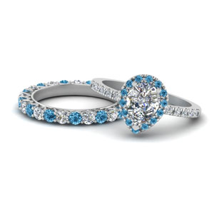 Blue Topaz Bridal Halo Ring Set