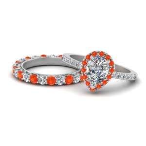 Orange Topaz Halo Ring Set