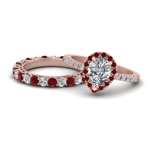 Nature Inspired Ruby Halo Ring Set