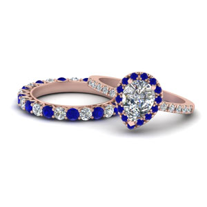 Pear Diamond Ring Set With Sapphire