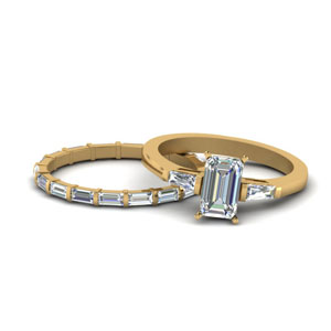 Emerald Cut Baguette Diamond Ring Set