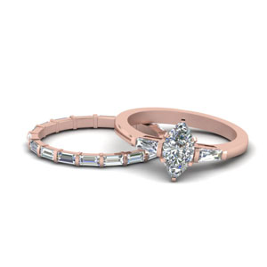 Petite Baguette Diamond Wedding Set
