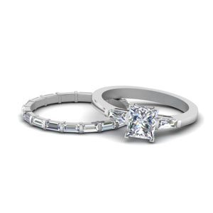 Princess Cut Baguette Ring Set