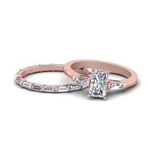 Radiant Cut Petite Diamond Ring Set