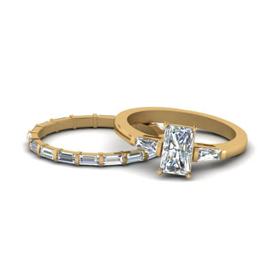 Gold Radiant Cut Wedding Sets