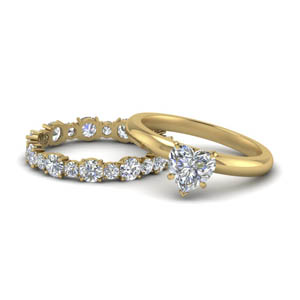 Solitaire Heart Ring With Eternity Band