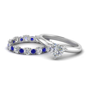 Heart Diamond Sapphire Ring Set