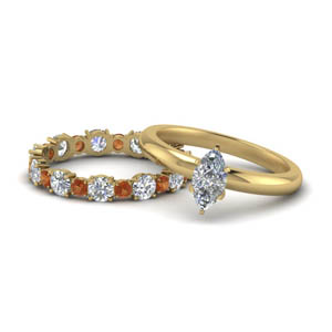 Marquise Diamond With Matching Band Set