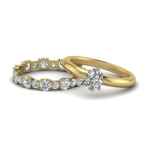 9ff08b2201c84f Classic Solitaire With Eternity Band Set Oval Shaped diamond Wedding Ring  Sets with White Diamond in 14K Yellow Gold [ Setting + Center Stone ]