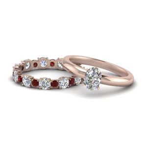 Ruby With Eternity Band Wedding Set