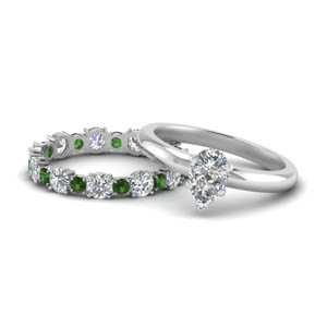 Classic Emerald Wedding Ring Set