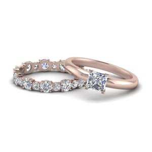 Rose Gold Princess Cut Wedding Sets