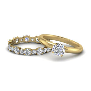 Round Moissanite Wedding Ring Sets