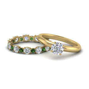 Classic Emerald Eternity Band Set