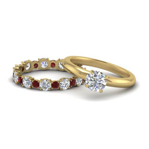 Ruby Solitaire Ring Set