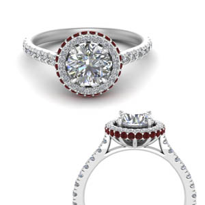 Petite Under Halo Ruby Ring