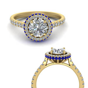 Sapphire Ring With Hidden Halo