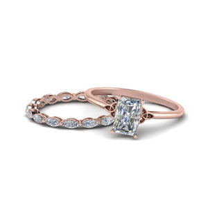 Rose Gold Celtic Bridal Set
