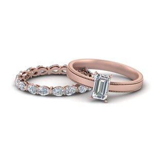 Rose Gold Lab Created Diamond Bridal Ring Set