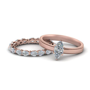 Rose Gold Marquise Shaped Wedding Sets