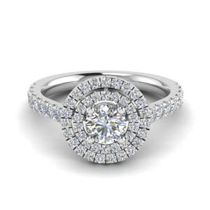 thin double halo round diamond engagement ring in FD9118ROR NL WG