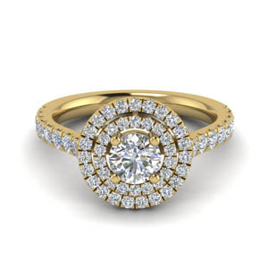 Round Diamond Double Halo Ring