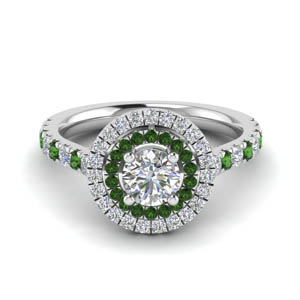 thin double halo round diamond engagement ring with emerald in FD9118RORGEMGR NL WG