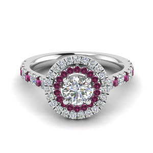 Halo Pink Sapphire Ring