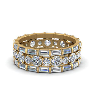 diamond eternity stacking band with baguette in FD9119ANGLE3 NL YG