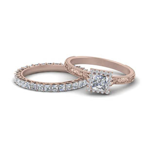 Filigree Moissanite Wedding Ring Set