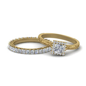 Halo Diamond Ring With Eternity Band