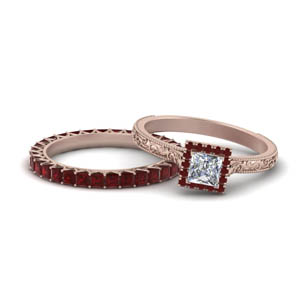 Accent Ruby Milgrain Wedding Set