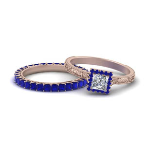 Sapphire Halo Ring With Eternity Band