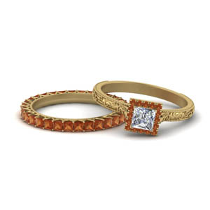 Orange Sapphire Square Halo Bridal Set