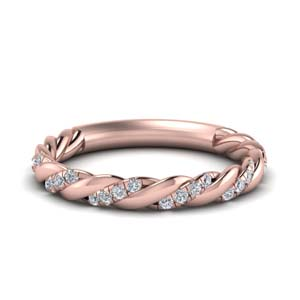 Rose Gold Twist Diamond Band