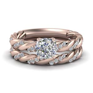 twisted vine cushion diamond bridal ring set in FD9127CU NL RG